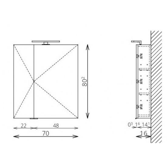 TBoss - MIRROR BOX RECTA tükrös felsőszekrény